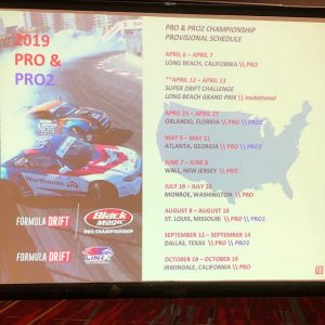 FD PRO & PRO2 Provisional 2019 Schedule announced at SEMA. Stay Tuned for our official Press Release. #FormulaDRIFT #FormulaD #SEMA