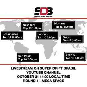 Here are the Livestream times for Round 4 of @superdriftbrasil for Sunday Oct. 21st (early morning of the 22nd in Australia and Japan). Find it on the Super Drift Brasil YouTube page. #sdbdrift #superdriftbrasil #drifting