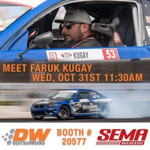 Meet @faruk.kugay at Deatschwerks booth (20577) today at @SEMA between 11:30-12:30! #FormulaDRIFT #FormulaD #SEMA