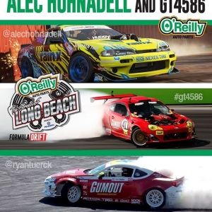Meet @RyanTuerck with his GT4586 & @AlecHohnadell Thursday Oct 11th at @oreillyautoparts - 4792 Peck Rd, El Monte, CA from 12-1 PM. #FormulaDRIFT #FormulaD #FDXV #FDIRW