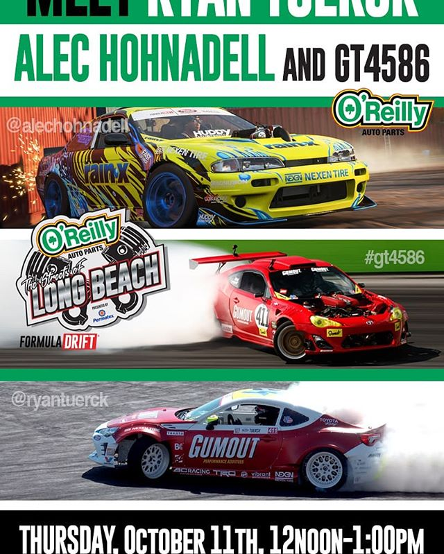 Meet @RyanTuerck  with his GT4586 & @AlecHohnadell  Thursday Oct 11th at @oreillyautoparts - 4792 Peck Rd, El Monte, CA from 12-1 PM.