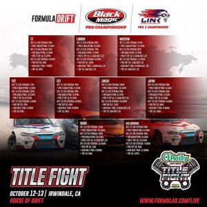 THIS IS IT!Don't miss out on any of the action! Catch @oreillyauto RD8: TITLE FIGHT presented by @OfficialRainX at Irwindale, CA & around the world starting tomorrow! Watch Live: bit.ly/FD2018Live [1:00PM PST | 4:00PM EST] #FormulaDRIFT #FormulaD #FDXV #FDIRW