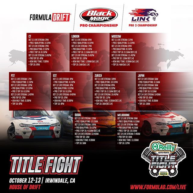 THIS IS IT! Don't miss out on any of the action!  Catch @oreillyauto RD8: TITLE FIGHT presented by @OfficialRainX at Irwindale, CA & around the world starting tomorrow!  Watch Live: bit.ly/FD2018Live [1:00PM PST | 4:00PM EST]