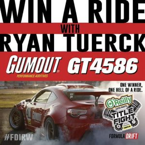 Win a Ride with @ryantuerck in the GT4586 at Formula Drift #FDIRW this Friday! Enter via the Formula Drift App available in your app store. #FormulaDRIFT #FormulaD #FDXV