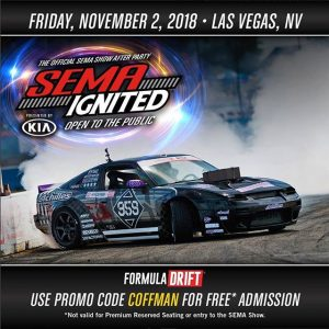 After the show it's the after party! The fun continues, join @coffmanracing tonight at SEMA Ignited! Our Complete FD SEMA Guide: (link in bio) #FormulaDRIFT #FormulaD #FDXV #SEMA