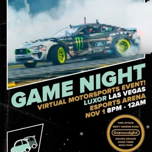 Get your game face on! Check out @vaughngittinjr at the Virtual Motorsports Event at Luxor Las Vegas Esports Arena today from 8pm to 12am. #FormulaDRIFT #FormulaD #FDXV
