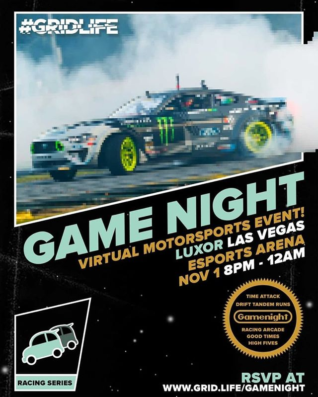 Get your game face on!  Check out @vaughngittinjr at the Virtual Motorsports Event at Luxor Las Vegas Esports Arena today from 8pm to 12am.