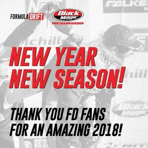 New Year, New Season! Thank you for an amazing 2018! We'll see you at RD1: The Streets of Long Beach on April 5-6! #FormulaDRIFT #FormulaD
