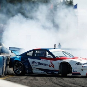 """Not quite what we meant by """"Pop the trunk"""" @jamesdeane130   @falkentire Everyone will be pushing the limits at RD1: The Streets of Long Beach on Apr 5-6th. Tickets on Sale Now: (link in bio) #FormulaD #FormulaDRIFT"""