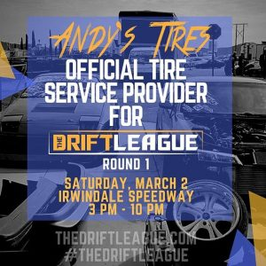 If ya know, then ya know that @andystires is the best tire service provider in SoCal! We are stoked to bring him back to keep the rubber fresh for our drivers at Round 1 of @thedriftleague presented by @milestar.tires & @motoiq! •• THE DEETS: March 2nd | $15 tickets at the gate (NOTE PRICE CHANGE) | free parking | 3-10 PM. #trispeed #trispeedperformance #thedriftleague #MotoIQ #FormulaDRIFT #irwindalespeedway #milestar #milestartires #patagoniamt #theofficialtireofadventure @obpmotorsport #obpmotorsport #andystires