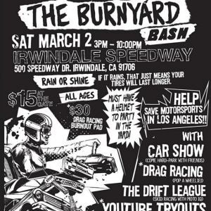 Our friends over at @thehoonigans are debuting their new stomping grounds at @irwindalespeedway THIS Saturday alongside Round 1! $15 gives you access to our competition and the #BurnyardBash! Who's coming out? •• THE DEETS: March 2nd | $15 tickets at the gate (NOTE PRICE CHANGE) | free parking | 3-10 PM. #thedriftleague #MotoIQ #FormulaDRIFT #irwindalespeedway #milestar #milestartires #patagoniamt #theofficialtireofadventure @obpmotorsport #obpmotorsport #hoonigan