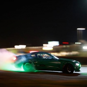 Back behind the wheel of his 900hp Ford @MustangRTR Spec 5-D that he used to drift the entirety of the Nürburgring, @VaughnGittinJr checked another item off his bucket list: drifting a cloverleaf interchange!  Watch the full video on our Facebook page! #FormulaD #FormulaDRIFT