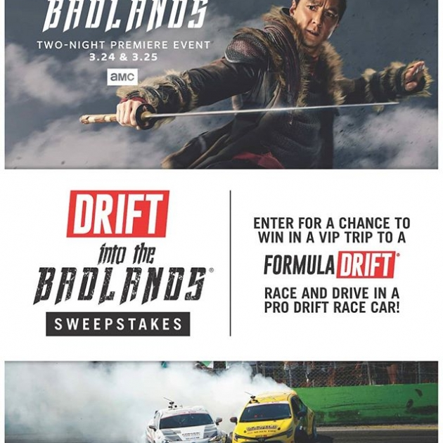 Enter the badlands of drifting if you dare, for the chance at the ultimate experience! Find out how at:(link in bio) And watch the 2-night premiere event of @IntotheBadlandsAMC this weekend! #FormulaD #FormulaDRIFT
