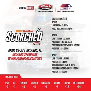 Action Packed Drift Weekend. Starting Thursday Apr 25! Catch it all LIVE from our Facebook Page (Link in Bio) PRO @blackmagicshine | PRO 2 @link_ecu @AutoZone RD2: Scorched presented by @blackmagicshine.  Check Your Local Time Zone. #FormulaDRIFT #FormulaD #FDORL