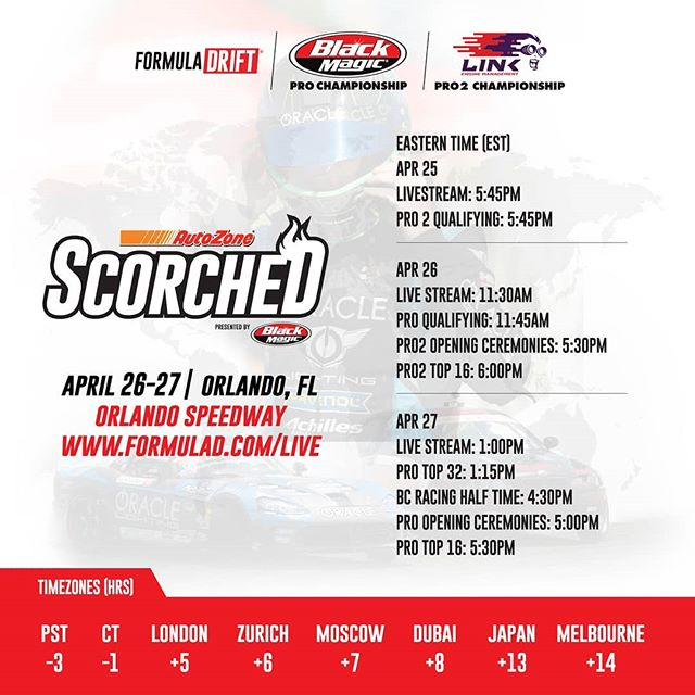 Action Packed Drift Weekend. Starting Thursday Apr 25! Catch it all LIVE from our Facebook Page (Link in Bio) PRO @blackmagicshine | PRO 2 @link_ecu  @AutoZone  RD2: Scorched presented by @blackmagicshine.  Check Your Local Time Zone.