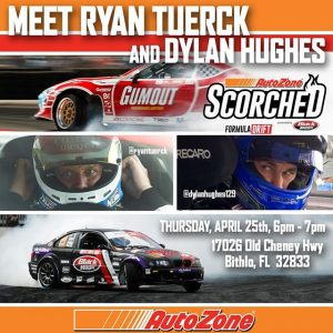 Get in the Zone with @ryantuerck & @dylanhughes129 before all the #FDORL action at @AutoZone . Thursday - Apr 25th 6-7PM 17026 Old Cheney Hwy, Bithlo, FL, 32833 #FormulaDRIFT #FormulaD