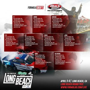 We're going live! No excuses, don't miss out on @oreillyautoparts RD1: The Streets of Long Beach presented by @permatexusa! Watch the Action Live: bit.ly/FD2019Live FD 2019 | @blackmagicshine April 5 at [1 PM PST | 4PM EST] #FormulaDRIFT #FormulaD #FDLB