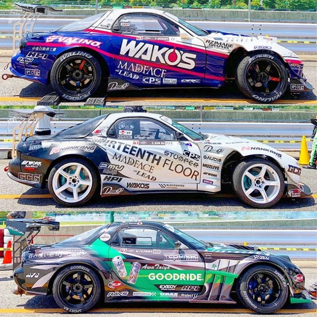 2019 @formuladjapan liveries: RX-7 edition. #formuladriftjapan #driftcarliveries #fdliveries #drifting #fd3s #rx7 #rotary