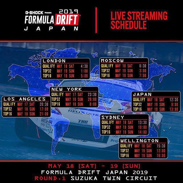 Livestream times for @formuladjapan Round 1 this weekend!