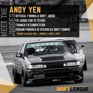 MEET THE JUDGES: We are excited to announced that @formulad judge Andy Yen is our guest judge for Round 2! Also happy to welcome back FD competitor @jeffjonesracing and our Day 1 judge @cahill88  be sure to check out the event on June 1st and say hi to our hardworking judges!  ••Round 2 of @thedriftleague is on June 1st at @irwindalespeedway. #TheDriftLeague is presented by @motoiq & @milestar.tires | Visit TheDriftLeague.com for more info! Tickets are $15 at the gate. #thedriftleague #MotoIQ #FormulaDRIFT #irwindalespeedway #milestar #milestartires #patagoniamt #theofficialtireofadventure @obpmotorsport #obpmotorsport