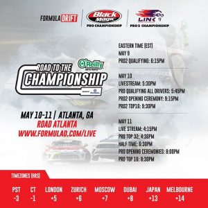 Watch #FDATL around the world! Live Stream starts today! @oreillyautoparts RD3: Road to the Championship presented by @Permatexusa FD 2019 | @BlackMagicShine | @link_ecu Check Your Local Time Zone: (Link in Bio) #FormulaDRIFT #FormulaD