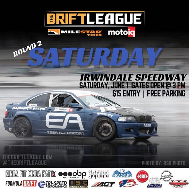 We are almost there! Join us THIS WEEK for Round 2 of @thedriftleague presented by @motoiq & @milestar.tires! Watch our drivers battle it out on track as their fight to earn a @formulad PRO2 license. Who's coming out? ••Round 2 of @thedriftleague is on June 1st at @irwindalespeedway at 3 PM | Visit TheDriftLeague.com for more info! Tickets are $15 at the gate.  @obpmotorsport