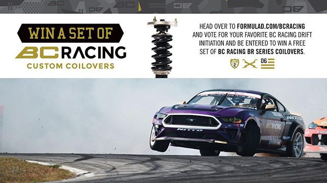 Win a Set of @BCRacingNA Custom Coilovers! Head over to formulad.com/bcracing (link in bio). Vote for your favorite BC Racing Drift Initiation and be Entered to Win!