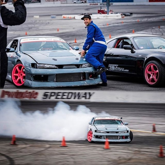 BE  YOUR  OWN  MODEL  Here's @aarondrifts showing us his moves at Round 2 of @thedriftleague ♀️ 📸 @gorillatornado #TheDriftLeague #MotoIQ #IrwindaleSpeedway #FormulaDRIFT #FormulaD #MilestarTires