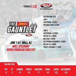 Don't miss a thing! Tune into the livestreams on June 7 at 3PM EST and June 8 at 12:45PM EST Or catch the action live at @AdvanceAutoParts RD4: The Gauntlet presented by @BlackMagicShine in Wall, NJ. June 7-8. Tickets: (link in bio) FD 2019 | #FormulaDRIFT #FormulaD #FDNJ