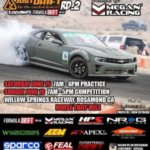 Good luck to all of our friends and drivers competing in Top Drift today! If you're in SoCal, the event takes place at Horse Thief Mile at @willow_springs_raceway and it is $10 to spectate ️ #justdrift #topdrift #friendsofdrift