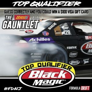 Guess the @BlackMagicShine Top Qualifier at #FDNJ and you could Win a $100 Visa Gift Card. Take your pick: (Link in Bio) Find out if you were right. Watch @advanceautoparts RD4: The Gauntlet presented by Black Magic. Starting at 12PM PST | 3PM EST on June 7th. Stream LIVE: (Link in Bio) #FormulaDRIFT #FormulaD