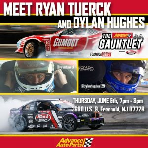 Meet @RyanTuerck of @nosenergydrink | @nittotire & @DylanHughes129 of @achillestire before all the action at @AdvanceAutoParts RD4: The Gauntlet presented by @BlackMagicShine Thursday - June 6th 7PM-8PM 3690 U.S. 9, Freehold, NJ 07728 #FormulaDRIFT #FormulaD #FDNJ