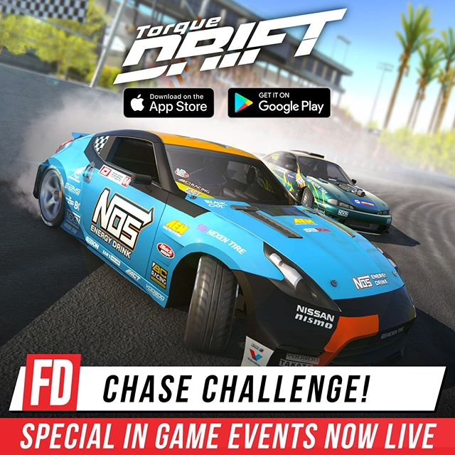 Special in game events are now running within the @TorqueDrift mobile game!  Chase down your favourite FD drivers in Chase Challenge events throughout the round!  Download now on your phone! Www.TorqueDrift.com/PlayGame
