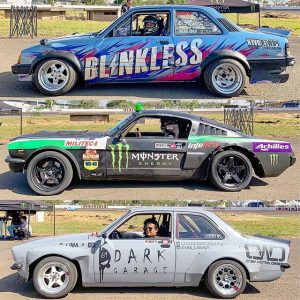 2019 @superdriftbrasil liveries: something different edition. 2 Chevettes and a '64 Mustang. #superdriftbrasil #driftcarliveries #drifting #chevette #64mustang