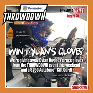 @AutoZone and @PermatexUSA are giving away @dylanhughes129's race gloves from RD5: #THROWDOWN along with a $250 AutoZone gift card. Just comment below and tell us what your first car was/is and what engine swap would make it better. On Monday next week Dylan will pick the best comment and let you know who won. @simpsonraceproducts #FormulaD #FormulaDRIFT #FDSEA #getinthezone