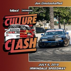 Be sure to head out to @thehoonigans Burnyard tomorrow (July 6) for Culture Clash at @or windalespeedway and watch our drivers @instashaffed & @pab_drifts throw down! #thedriftleague #milestartires #MotoIQ #irwindalespeedway #hoonigan #burnyard #burnyardbash #cultureclash