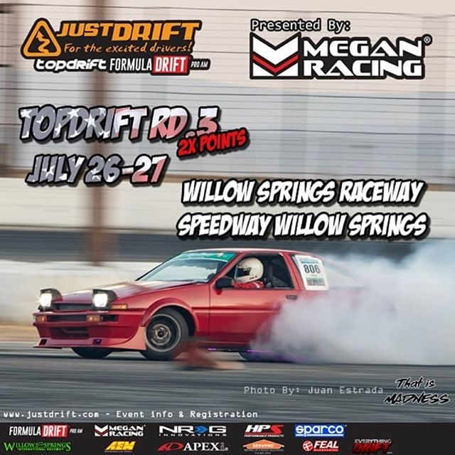 Cheering for our friends & drivers at @justdrift_official today! It's the final round of their ProAm series and they will be handing out 3 @formulad PRO2 licenses  catch the action tonight at 6 PM at Willow Springs International Raceway.