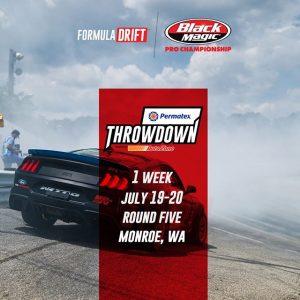 Time to kick it in gear, next week is @PermatexUSA RD5: Throwdown presented by @autozone in Monroe, WA. July 19-20! Tickets: (link in bio) FD 2019 | @BlackMagicShine #FormulaDRIFT #FormulaD #FDSEA