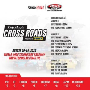 Here are the livestream times for @formulad Round 6 this weekend! #formulad #formuladrift #drifting