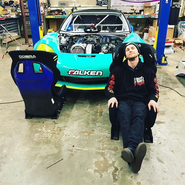 We're getting close! About to drop in my new custom @cobraseats Ultralite. These things are so light and the guys at Cobra were awesome enough to make me custom padding to get me low, and comfortable in the car. And check out the back of the seats! Even wrapped the back with some @falkentire livery! Thank you guys for making one amazing product.