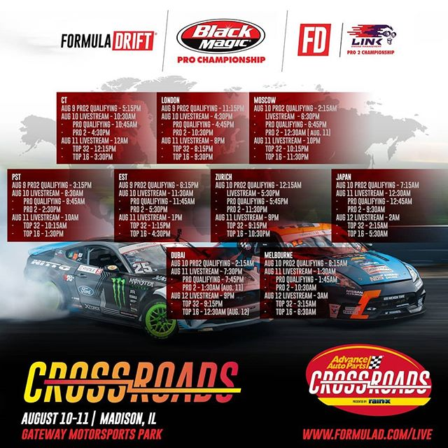 Tune in for qualifying on Aug 10 at 8:45AM PST/11:45PM EST and competition on Aug 11 at 10:15AM PST/1:15 PM EST  Watch the livestream for @AdvanceAutoParts RD6: Crossroads presented by @OfficialRainX in Madison, IL. on Aug 10-11. Tickets: (link in bio)