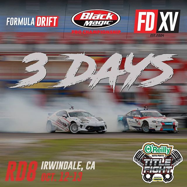 Counting down the days, 3 more to go!  Time to turn it up a notch for @oreillyauto RD8: TITLE FIGHT presented by @OfficialRainX at Irwindale, CA on Oct 12-13! Tickets: (link in bio)