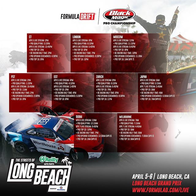Livestream times for @formulad Round 1 this weekend. The action starts with qualifying on Friday at 1pm Pacific and Top 32 starts at 10:45am Pacific on Saturday. Zoom in on your part of the world to see what time to tune in!