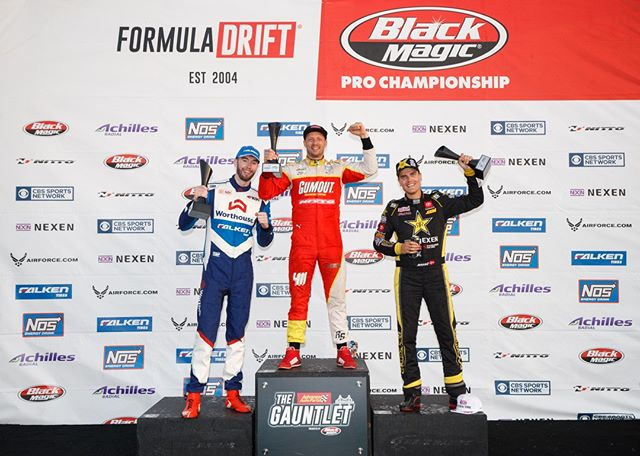 Your Podium.  1st - @RyanTuerck | @Gumout | @NittoTire | @NosEnergyDrink | @ToyotaRacing  2nd - @FredricAasbo | @NexenTireUSA | Toyota Racing 3rd - @JamesDeane130. | @FalkenTire  @AdvanceAutoParts RD4: The Gauntlet presented by @BlackMagicShine