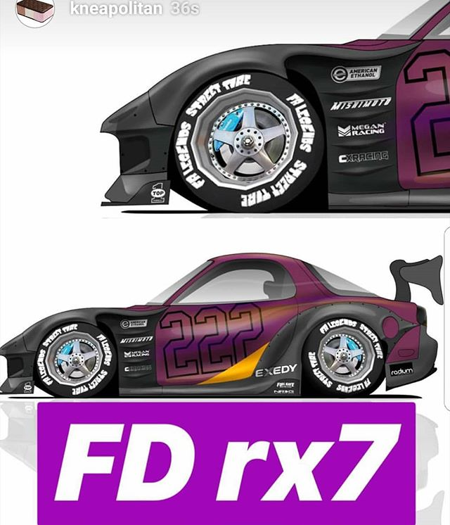 Back when @kneapolitan rendered up the @americanethanol @mazdatrixofficial FD3S.  Built by,  Kyle Mohan Racing  Headed back to SEMA this year.  should be fresh.  @lrb_speed @mastermind_north_america @mazdatrixofficial @top1oilusa @wraplegends @americanethanol @bn_sports_co.ltd @haltechecu @mishimoto @getnrg @drivenrg