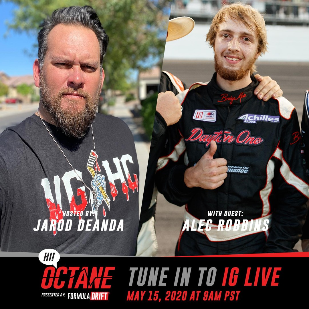 Tune into our Instagram Live tomorrow at 9am PST as @JarodDeAnda goes live with @AlecRobbinsRacing for the newest episode of HI! Octane.