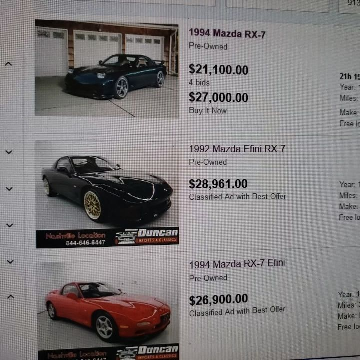Only 3 Third Generation RX7's on Ebay .. Of the 3 only 1 is Left Hand Drive and Manual , No FD3S  Listings on Craigslist for the Los Angeles and Nearly Areas. FD3S inventory has been getting very low over the past 2 years ..