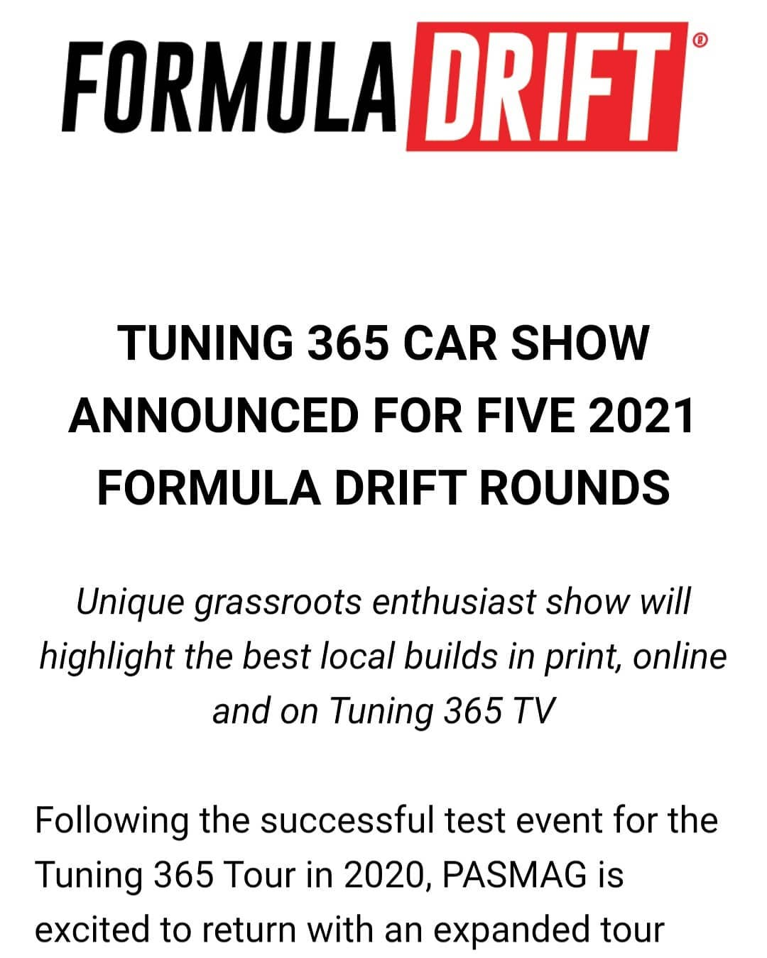 TUNING 365 CAR SHOW ANNOUNCED FOR FIVE 2021 FORMULA DRIFT ROUNDS