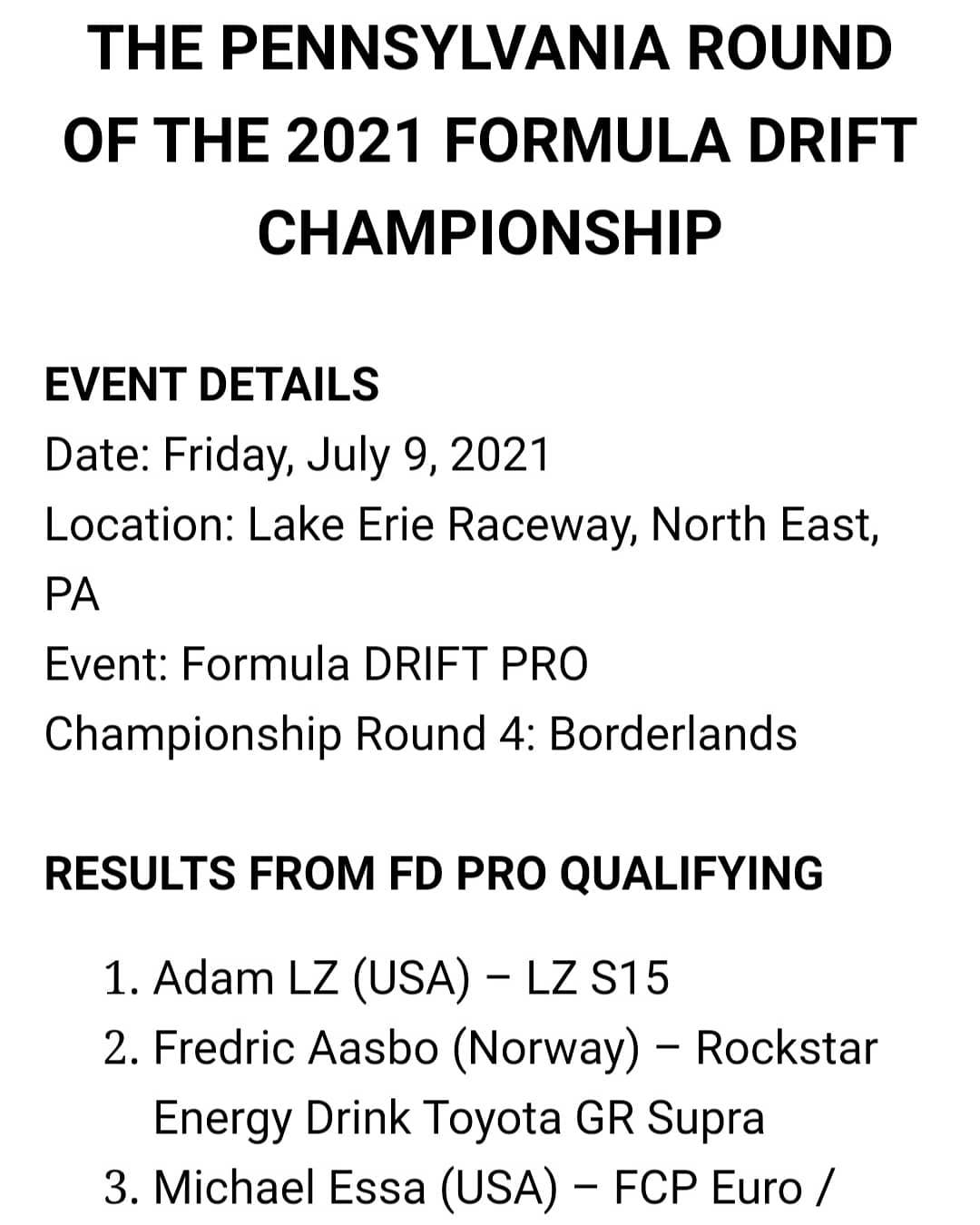 Qualifying Results from the Pennsylvania Round of the 2021 Formula DRIFT Championship
