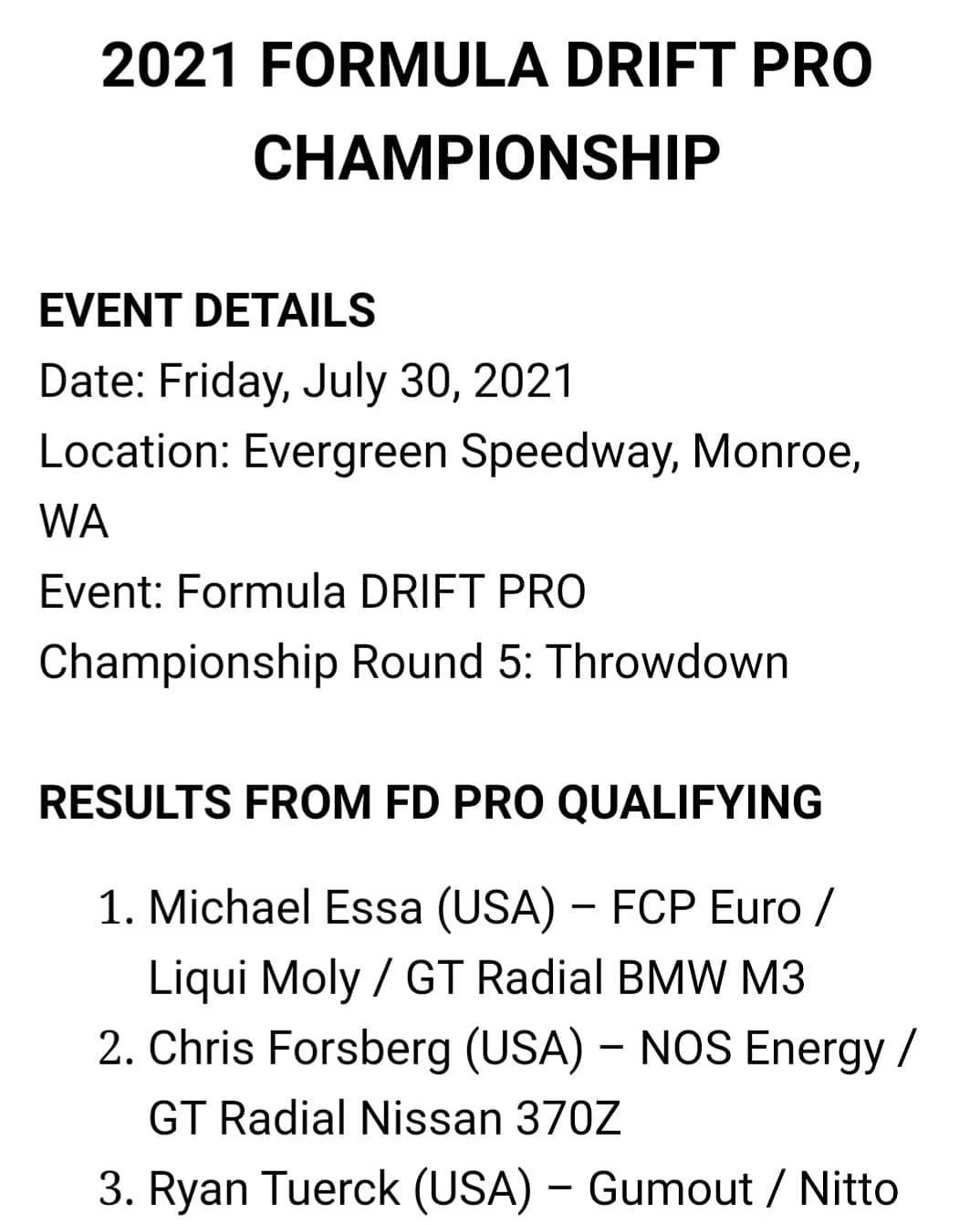 Qualifying Results from the Seattle Round of the 2021 Formula DRIFT Championships